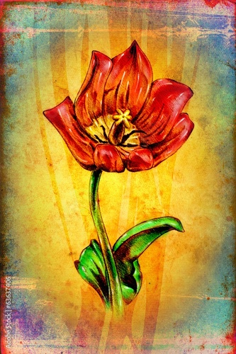 antique flower art drawing handmade