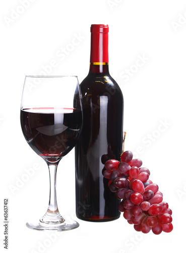 Red Wine Bottle and Glass of  Wine with Fresh Grapes isolated