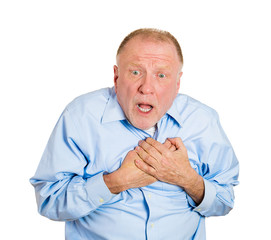 Old man having sudden chest pain