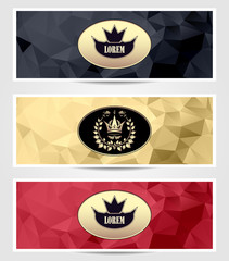 Set Royal triangle banners  black red gold
