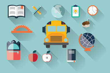 Collection of school items, flat design, long shadow, vector