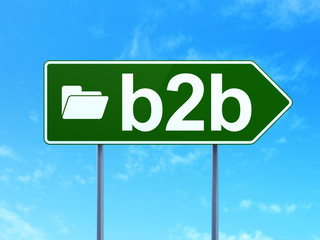 Finance concept: B2b and Folder on road sign background