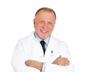 Confident smiling, elderly doctor