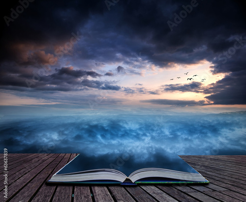 canvas print picture Book concept Fantasy skyscape sunset over surreal vortex formati