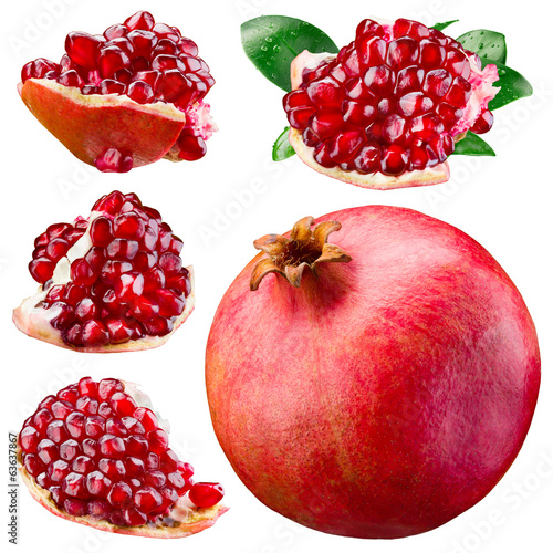 Ripe pomegranate, section and leaves isolated on a white. Collec