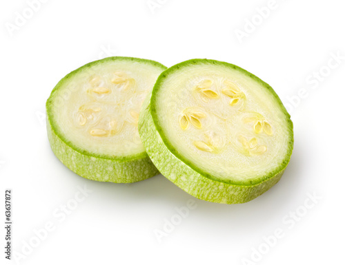 Sliced zucchini isolated on white. Courgette