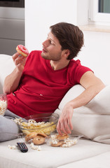Male couch potato
