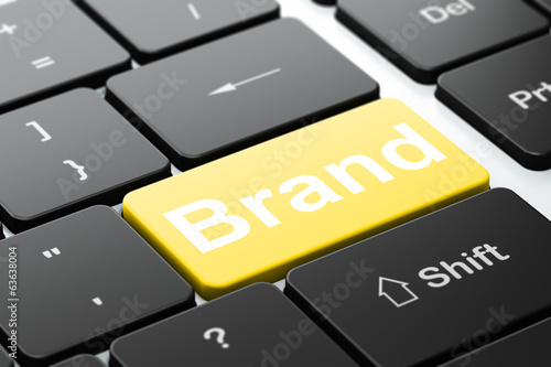 Advertising concept: Brand on computer keyboard background