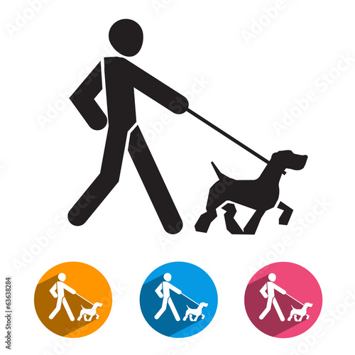 Man and dog. Vector format