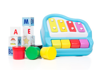 Child baby toys collage paint bricks with letters xylophone