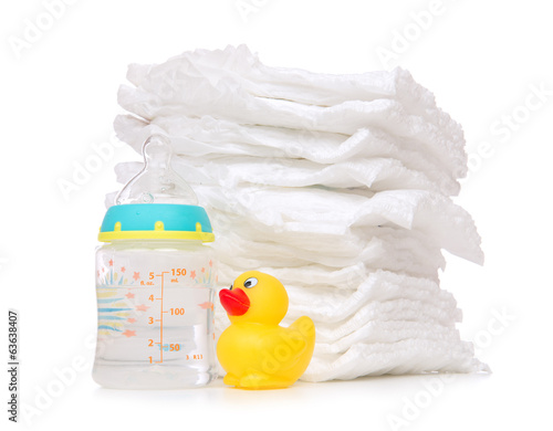 child stack of diapers bottle with water duck