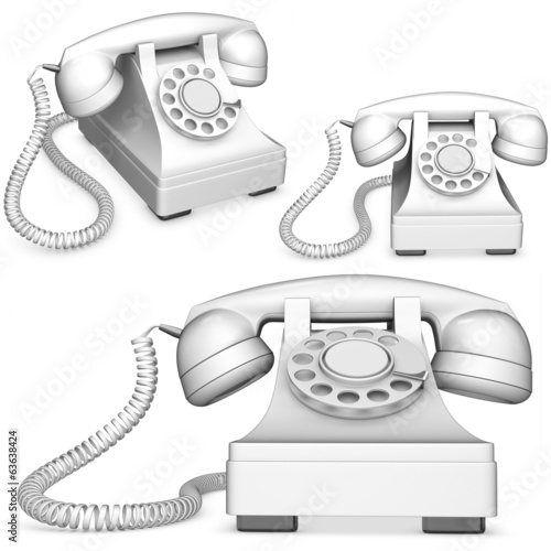 3d old-fashioned phone collection