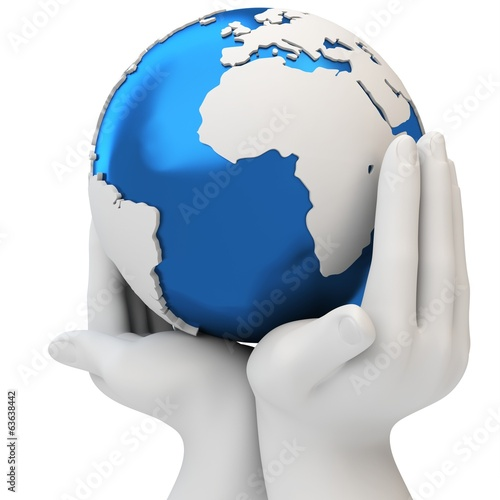 3d hands holding a blue earth globe, protection concept