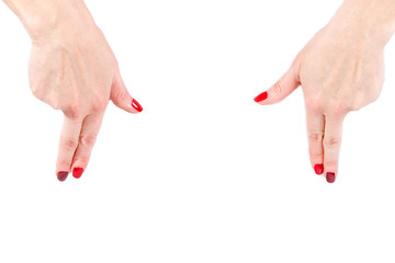 Woman  hands on the isolated background, gestures