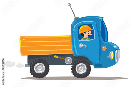 Funny worker in small nice truck