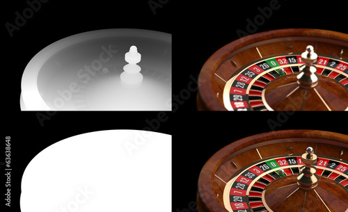 3D Casino Roulette with Alpha channel and Z-Depth