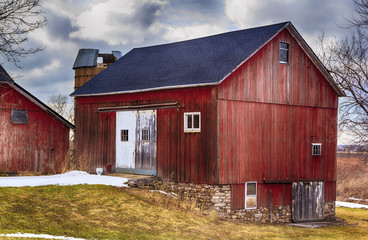 Red Country Barn with New Roof