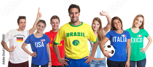 Sports fan from Brazil with fans from other countries