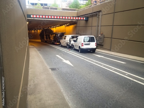 car accident in a city tunnel