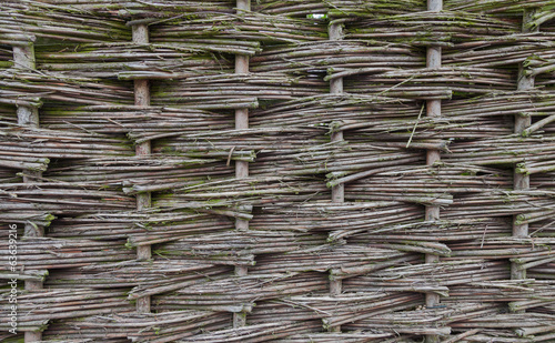 Old wicker garden fence