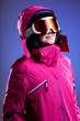 canvas print picture - Winter sportswoman in pink