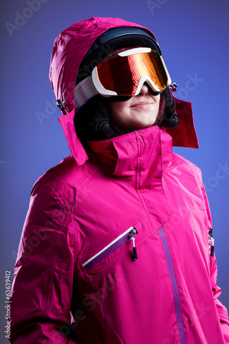 Winter sportswoman in pink
