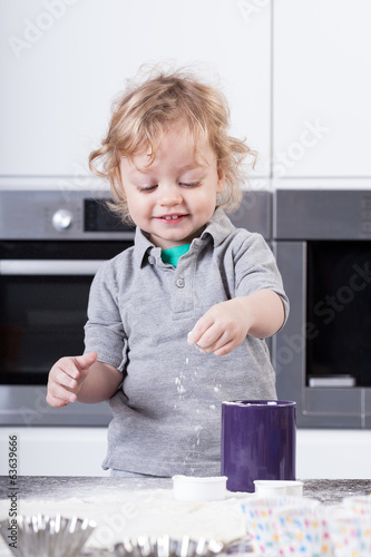 Little boy preparing food