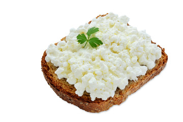 Slice of bread with cottage cheese