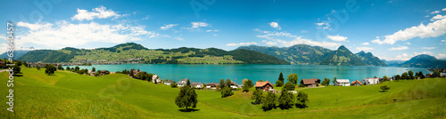 wide view of Alps and Alp lake