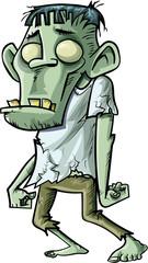 Cartoon stalking green zombie with big teeth