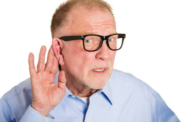 What did you say? Portrait senior man with hearing difficulties