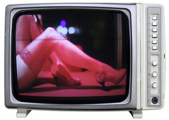 sexy woman leg in tv