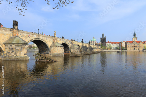 Spring Prague Old Town with Charles Bridge, Czech Republic