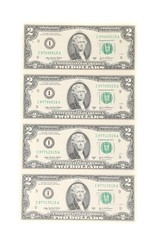 Two dollar bills.