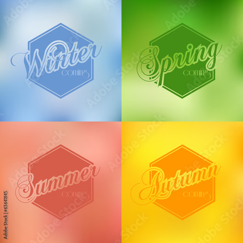 Four seasons vector background typography set