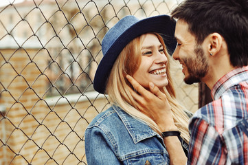 Young couple in love. Outdoor close up portrait