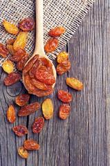 Raisins in a spoon