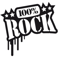 100% Rock Text Graffiti Design