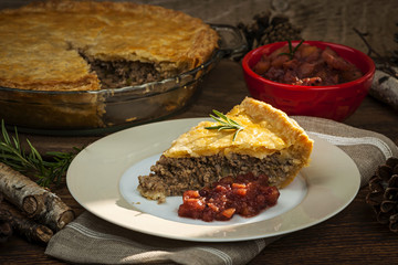 Slice of meat pie Tourtiere