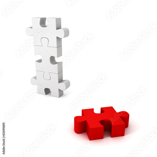 different red jigsaw puzzle piece out from white group
