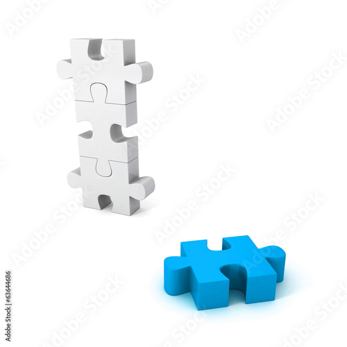 different blue jigsaw puzzle piece out from white group