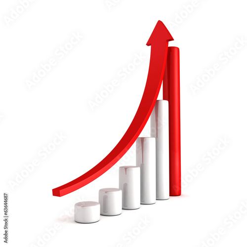 Red Bar Chart Business Growth With Rising Up Arrow