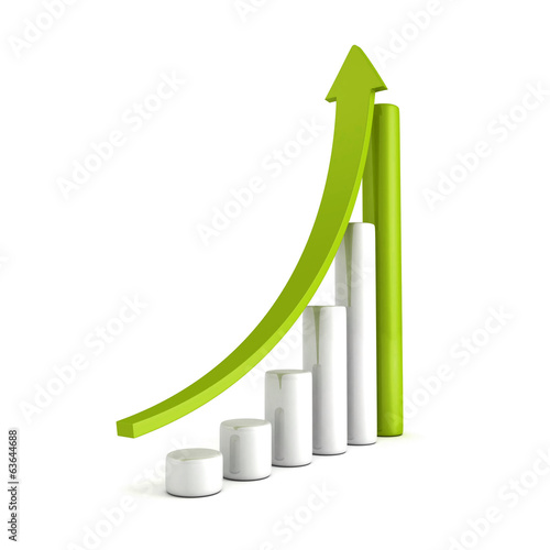 Green Bar Chart Business Growth With Rising Up Arrow