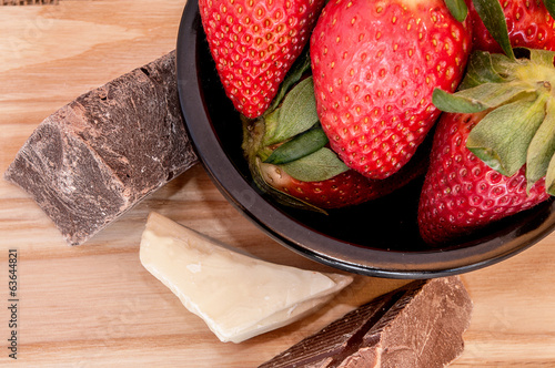 Strawberries and Chocolate in a bowl on the right