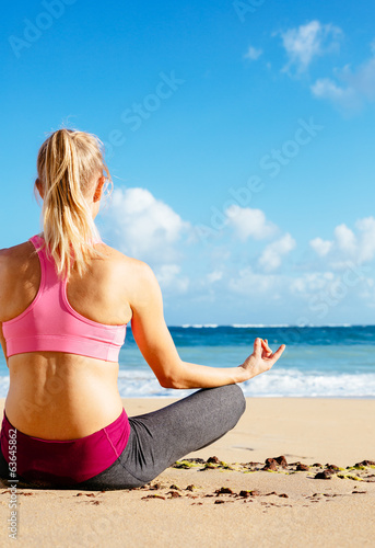 Young woman practicing morning meditation