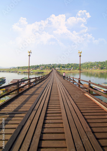 Wood bridge with river and mountain in Kanchanaburi Thailand