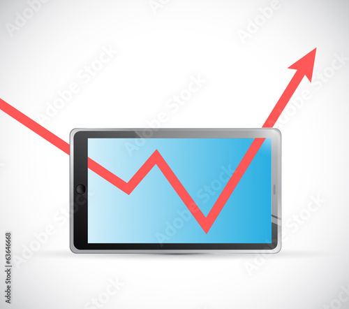 tablet and business graph arrow illustration