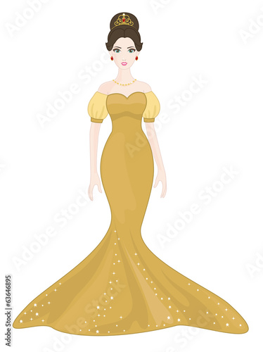 Beautiful Princess with Golden Dress on a white background
