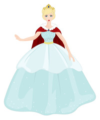 Beautiful Princess with Blue Dress on a white background