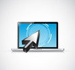 laptop touchscreen and cursor. illustration design